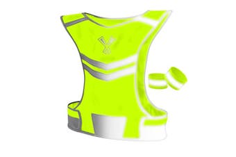 (Medium, Neon Yellow) - 247 Viz The Reflective Vest with Inside Pocket & 2 High Visibility Running Safety Bands