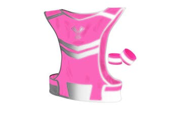(Medium, Neon Pink) - 247 Viz The Reflective Vest with Inside Pocket & 2 High Visibility Running Safety Bands