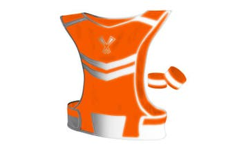 (Medium, Neon Orange) - 247 Viz The Reflective Vest with Inside Pocket & 2 High Visibility Running Safety Bands