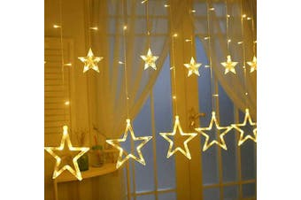 (12 Star Lights) - Ulinek Curtain Lights, Fairy String Lights LED Star Strips for Wedding Christmas Party Holiday Indoor Outdoor Decorations lighting String With 12 Stars 138 Leds 8 Flash Modes (2M/6.6ft Warm White)