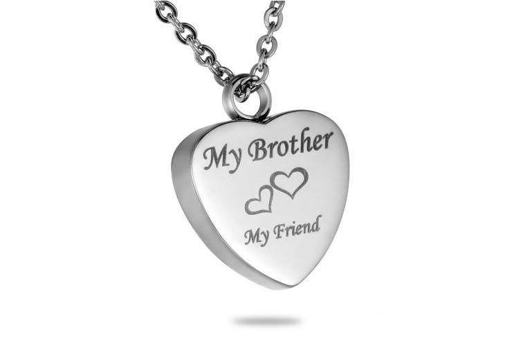 "(Brother) - HooAMI ""My Brother My Friend"" Heart Cremation Urn Pendant Necklace Memorial Ash Keepsake"