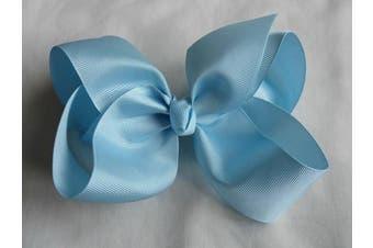 (Light Blue) - BFab 15cm Big Hair Grosgrain Ribbon Bow with Alligator Clip Pin (Light Blue)