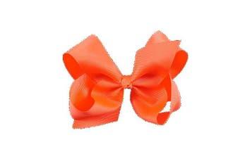 (Neon Orange) - BFab 15cm Big Hair Grosgrain Ribbon Bow with Alligator Clip Pin (Neon Orange)
