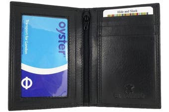 (Black) - Slimline Soft Leather Credit Card Wallet/Travel/Holder with Twin ID Windows