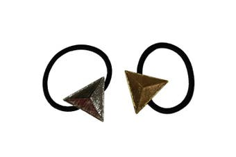 Bzybel Womens 2 pcs Alloy Metal Glitter Triangle Ponytail Holder Hair Tie Hair Bands Fashion Hair Accessory Set