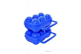 Set 2 Blue Hard Plastic 6-Egg Storage Holder Protector Camping Carrying Caddy