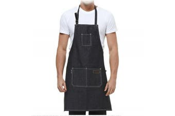 (Black cowboy) - Denim Apron,ANGTUO Thick Sleeveless Personality Aprons Fashion Uniforms Coffee Service Chef Cooking Gardener,Black