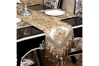 (12*370cm ) - Grelucgo Super Large Luxury Thick Lined Damask Table Runners with Multi-Tassels (30cm x 370cm )