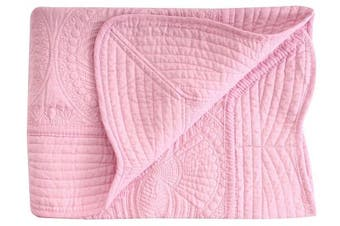 (Pink) - Lightweight All Weather Embossed Detail Cotton Baby Coverlet 90cm x 120cm