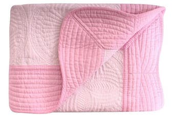 (White-Pink) - Lightweight All Weather Embossed Detail Cotton Quilt For Baby and Toddler