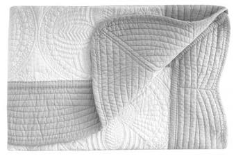 (White-Grey) - Lightweight All Weather Embossed Detail Cotton Quilt For Baby and Toddler