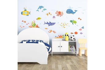 (Sea Adventure) - Decowall DAT-1611 Sea Adventure Kids Wall Stickers Wall Decals Peel and Stick Removable Wall Stickers for Kids Nursery Bedroom Living Room