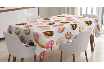 (150cm  W By 210cm  L, Multi 3) - Food Decor Tablecloth by Ambesonne, American South Calssic Police Breakfast Fast Food Dessert Donuts Art Print , Dining Room Kitchen Rectangular Table Cover, 60W X 84L Inches, Multicolor