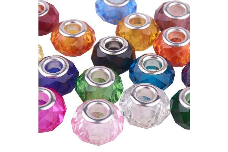 (Mixed Color-silver Core 2) - Pandahall 100PCS 14x8mm Glass European Beads with Plating Silver Double Cores Large Hole Beads, Hole: 5mm