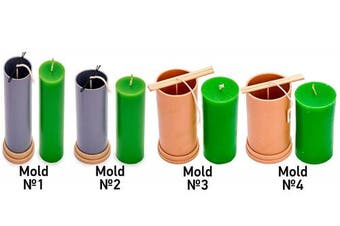 (4 in 1) - Candle Moulds Сylinder set (4 candle moulds) - 37m of wick included as a gift - Plastic candle moulds for making candles