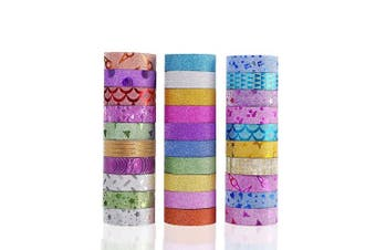 30 Rolls Washi Masking Tape Set,Decorative Craft Tape Collection for DIY and Gift Wrapping with Colourful Designs and Patterns