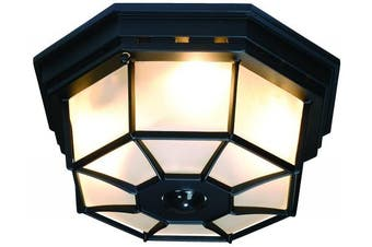 (Black) - Heath Zenith HZ-4300-BK-B 360-Degree Motion-Activated Octagonal Ceiling Light, Black