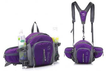 (Purple) - BXT Ultimate Waterproof Travel Waist Pack with Water Bottle Holder Money Belt Bag Hip Pouch Fanny Pack for Hiking Camping Workout Running Cycling Marason Beach Holiday