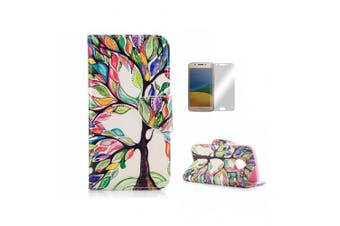 (Motorola Moto G5, Life tree) - Case For Motorola Moto G5 [With Tempered Glass Screen Protector],Fatcatparadise(TM) Anti Scratch Flip Soft Silicone Back Cover Case ,Colourful Cute Pattern Design Flip Magnetic Premium PU Leather Credit Card Folio Holder