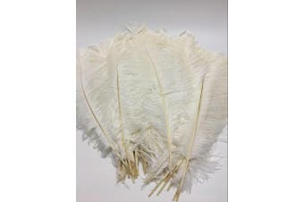 (White) - AABABUY 10pcs Ostrich Feathers 18-20 inch (45-50cm) for Home Wedding Party Decoration (White)
