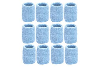 (Light Blue) - Unique Sports Athletic Performance Team Pack of 12 Wristbands (6 pair) - Light Blue