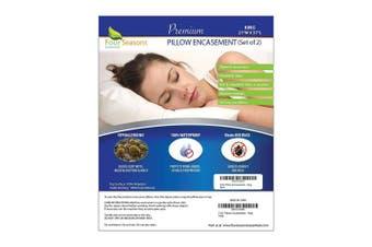 King Pillow Protectors (Set of 2) – Allergy Pillow Cover Bedbug Waterproof Hypoallergenic Dust Mite Proof Zippered Encasement