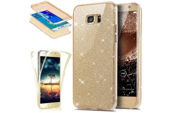 (Glitter Gold) - Galaxy S7 Edge Case, PHEZEN Front and Back 360 Full Body Protective Bling Glitter Sparkly Slim Thin TPU Rubber Soft Skin Silicone Protective Case Cover For Samsung Galaxy S7 Edge (Gold)