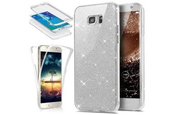 (Glitter Silver) - Galaxy S6 Edge Case, PHEZEN Front and Back 360 Full Body Protective Bling Glitter Sparkly Slim Thin TPU Rubber Soft Skin Silicone Protective Case Cover For Samsung Galaxy S6 Edge (Silver)