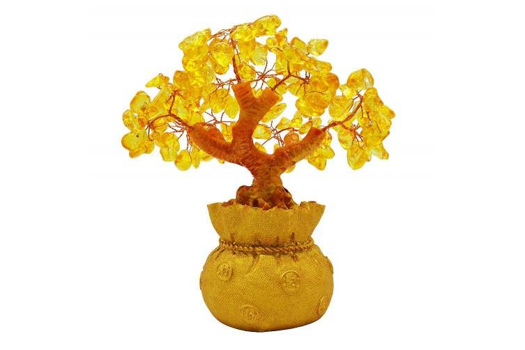 Omonic 18cm Feng Shui Citrine Quartz GemStone FengShui Money Tree Natural Gold Crystal Office Room Good Luck Fortune Decoration