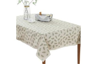 (55 X 87 Inch (140*220CM), Leaves) - Bringsine Fashion Classic Rectangular Cotton Linen Lace Leaves Tablecloth, Washable Tablecloth Vintage Oblong Dinner Picnic Table Cloth Home Decorative Cover(Rectangle/Oblong, 140cm x 220cm )