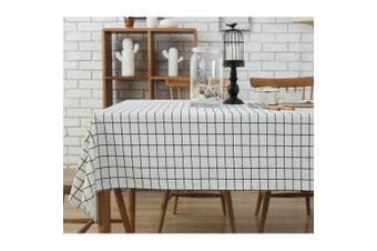 (55 X 87 Inch (140*220CM), black check) - Bringsine Fashion Classic Rectangular Cotton Linen Black Cheque Washable Tablecloth Vintage Oblong Dinner Picnic Table Cloth Home Decoration Assorted Size