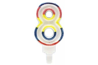(Large Candle #8) - Children's Birthday Candles - Unique Party Deluxe Number Birthday Candles - Perfect for Children's Birthday Parties - Multicoloured (Large Candle #8)