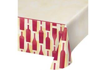Creative Converting 324452 Border Print Plastic Table cover, 140cm x 260cm , Sip Sip Hooray