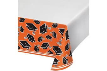 (Orange) - Creative Converting School Spirit Border Print Plastic Tablecover for Graduation Party, 140cm x 260cm , Orange