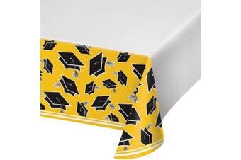 (School Bus Yellow) - Creative Converting School Spirit Border Print Plastic Tablecover for Graduation Party, 140cm x 260cm , School Bus Yellow