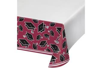 (Burgundy) - Creative Converting School Spirit Border Print Plastic Tablecover for Graduation Party, 140cm x 260cm , Burgundy