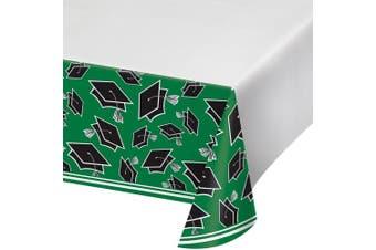 (Emerald Green) - Creative Converting School Spirit Border Print Plastic Tablecover for Graduation Party, 140cm x 260cm , Emerald Green