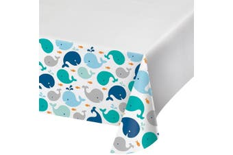 (One Size, Lily' Sprout Blue) - Creative Converting Border Print Plastic Tablecover, Lil' Spout Blue