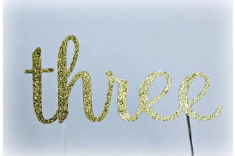 Handmade 3rd Third Birthday Cake Topper Decoration - Three - Made in USA with Double Sided Gold Glitter Stock