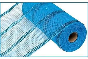 25cm x 9.1m Wide Tinsel Foil Mesh Ribbon (Turquoise) : RY840171