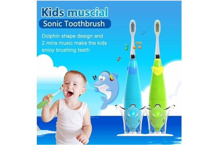 Kids Musical Sonic Toothbrush Fun Dolphin Shape 2 Minutes Remind Teeth Brush for Children LED Light (bule)