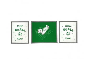 Bacati 3 Piece Soccer Wall Hangings, Green/Grey