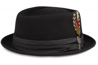 (Large, Black - black) - Brixton Men's Stout Pork Pie Hat