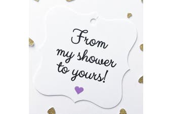 (My - Purple) - 24 - Purple Bridal Shower or Baby Shower Favour Hang Tags, From My Shower To Yours (FS-67-PR)