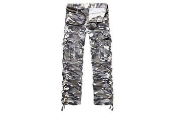 (gray camouflage, 34 Waist x 33 Leg) - AYG Mens Cargo Trousers Camouflage Combat Pants Cotton 29-40