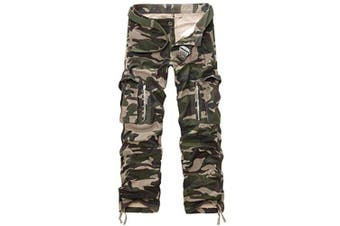 (army camouflage, 34 Waist x 33 Leg) - AYG Mens Cargo Trousers Camouflage Combat Pants Cotton 29-40