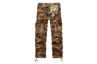 (sand camouflage, 40 Waist x 33 Leg) - AYG Mens Cargo Trousers Camouflage Combat Pants Cotton 29-40