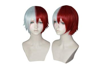 Cfalaicos Short Silver Red Mixed Cosplay Wig with Free Wig Cap