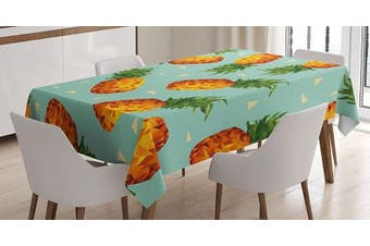 (130cm  W By 180cm  L, Multi 14) - Retro Tablecloth by Ambesonne, Poly Style Pineapples Motif Vintage Beach Summer Modern Illustration, Dining Room Kitchen Rectangular Table Cover, 52W X 70L Inches, Seafoam Olive Green Orange