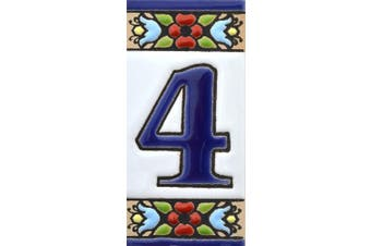 """(NUMBER FOUR """"4"""") - House numbers. Handpainted polichrome ceramic tiles. letters and numbers handpainted using dry rope technique perfect to create signs,addresses and names. Design FLORES MINI 7.3cm x 3.5cm (NUMBER 4)"""